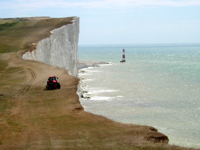 Mowing the lawn at Beachy Head