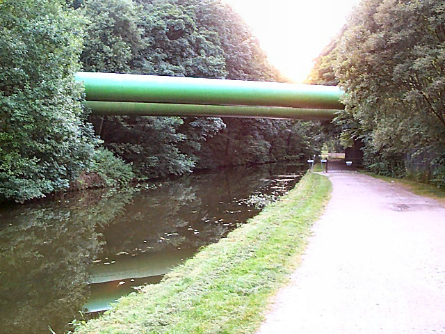 Huge pipes over the Leeds & Liverpool Canal