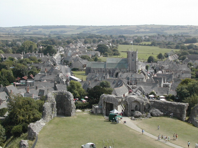 Corfe Castle - View of Village from Castle