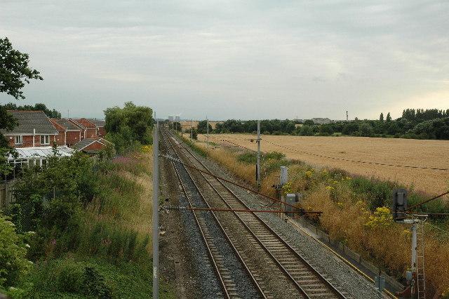 Railway line heading to Warrington from Newton