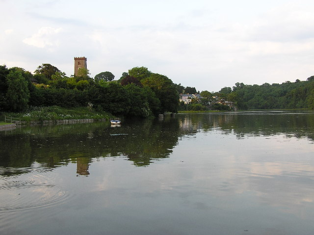 Stoke Gabriel Mill Pond with church in background