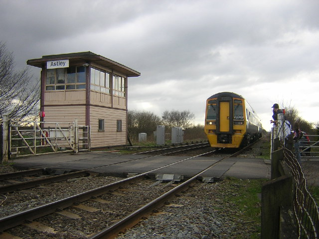 Astley signal box and level crossing on Astley Moss