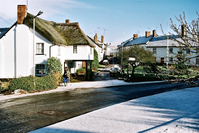 Thorverton Village Centre in the snow