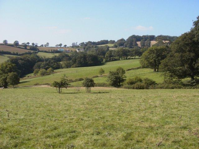 Farmland below Fursdon House