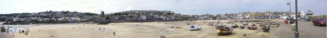 Panoramic view of St. Ives from harbour wall