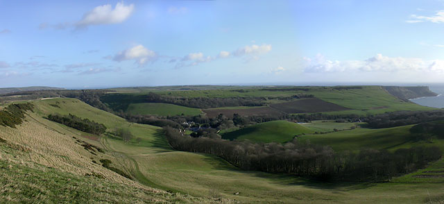 View east towards Encombe House from Swyre Head