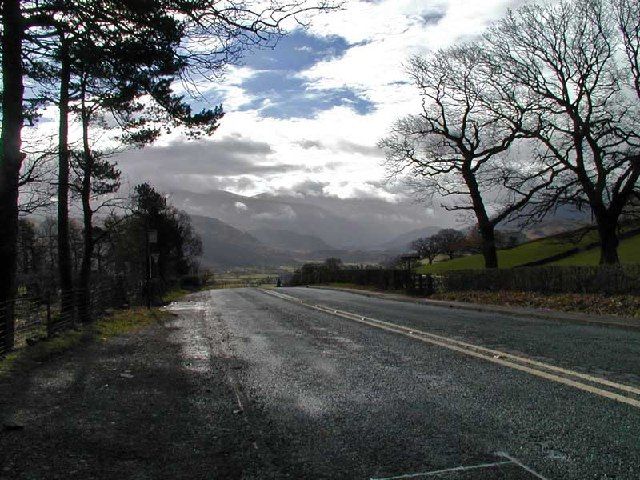 Stormy day on the road past Castlerigg