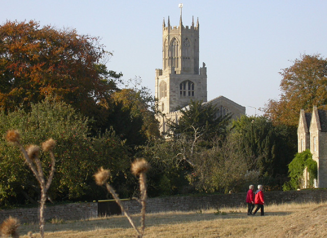 Fotheringhay Church as seen from near the Castle Mound