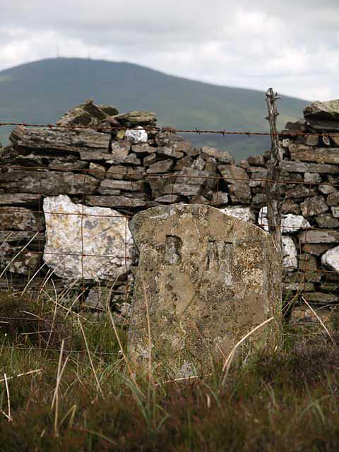 Benchmark on Slieu Curn - Sartfell road.   Isle of Man