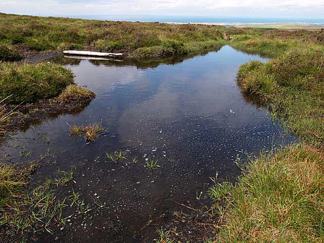 Bog pool near summit of Slieu Dhoo.   Isle of Man