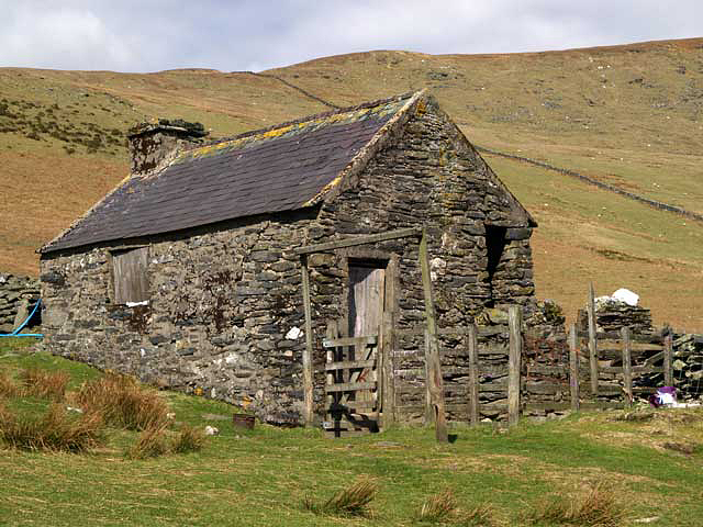 Building and sheep pens, Corrany Valley.  Isle of Man.