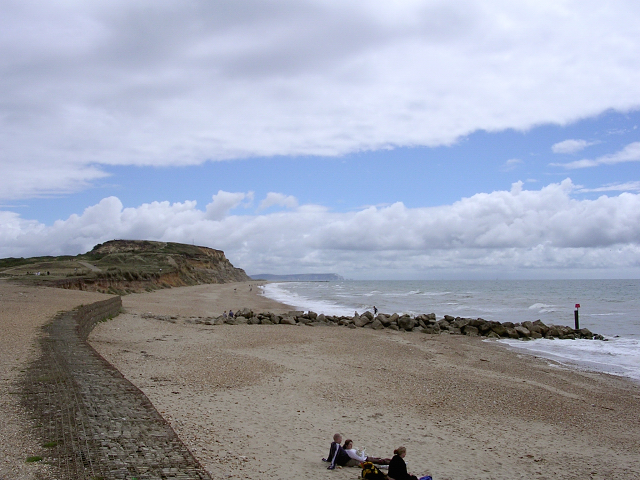 Beach and headland beyond the double dykes, Hengistbury Head