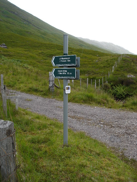 Sign for start of the path to Alltbeithe