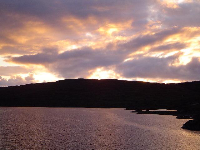 Sunset over Loch a' Chàirn Bhàin