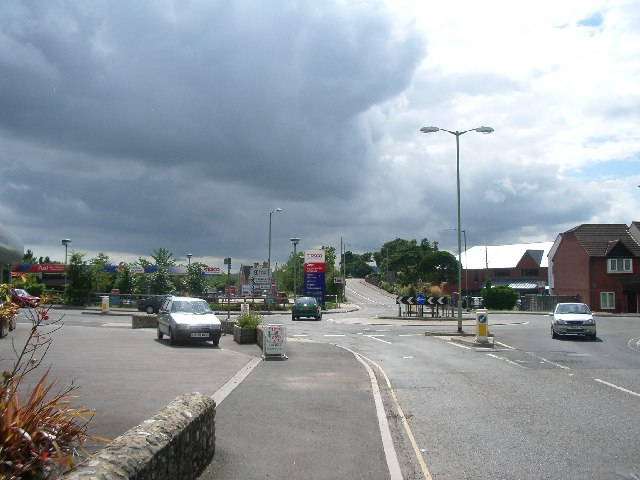 Roundabout at the bottom of West Street, Axminster