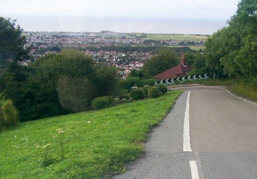 The steep road down Prestatyn hillside