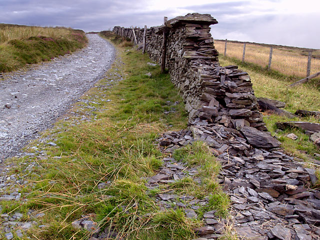 Dry stone wall on Slieu Curn Road.   Isle of Man