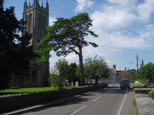 Evercreech Church and road