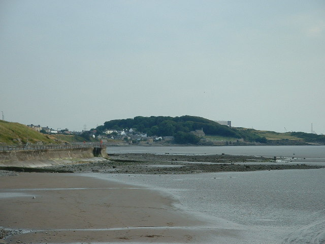 Morecambe shoreline, with Heysham Village