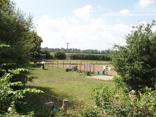 Paddock and horse training ring at Penn Farm near Towersey