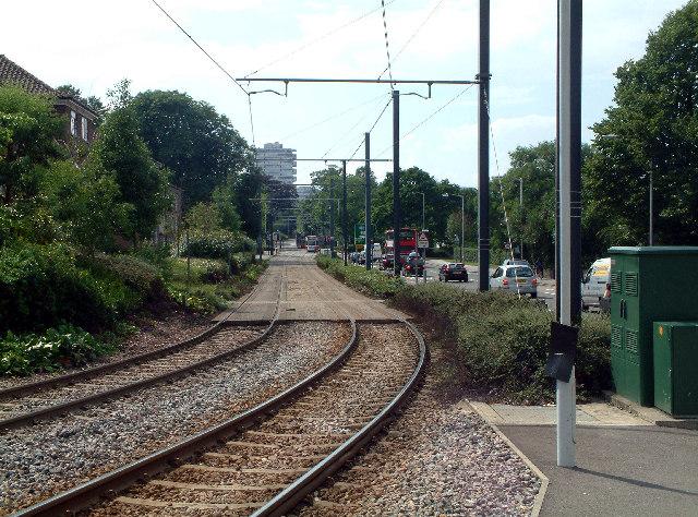 Looking west from Sandilands tramstop, Croydon