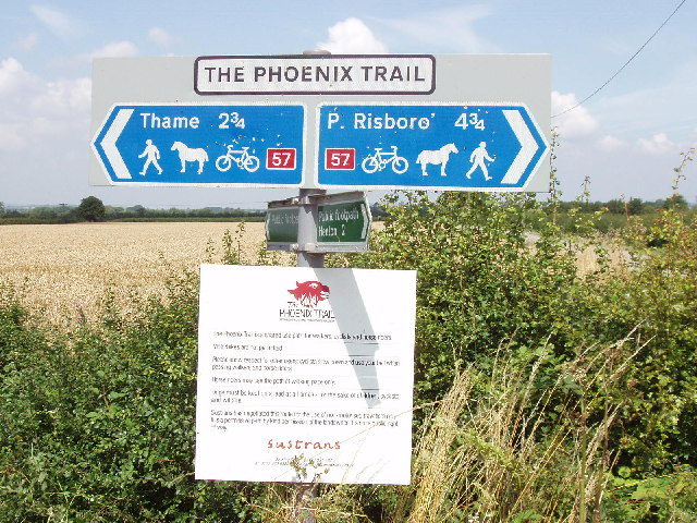 Phoenix Trail sign on former Thame to Princes Risborough railway