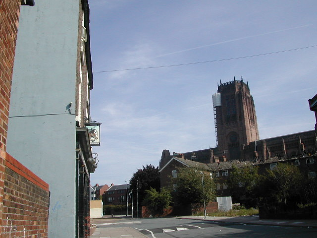 The Horseshoe pub and Liverpool Anglican Cathedral