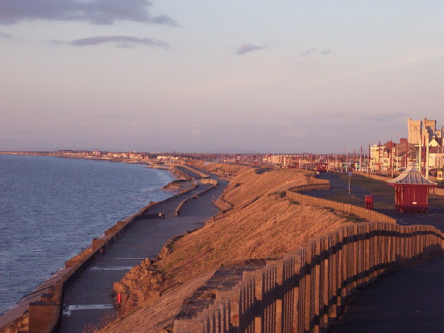 Bispham Seafront with Norbreck Castle in Distance