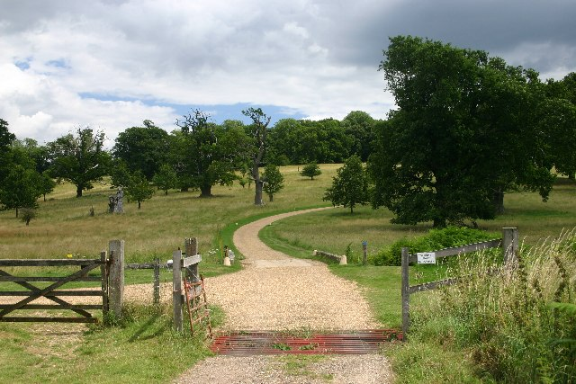 Track leading across parkland to Ickworth House