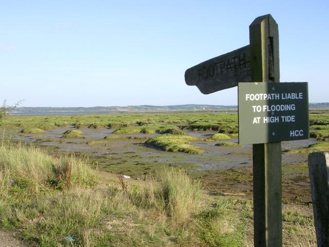 Coastal footpath and mudflats near Three Stones, Lower Exbury