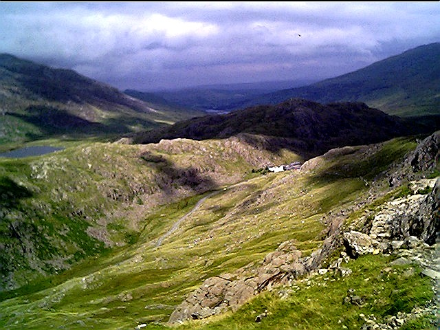 Looking down into Llanberis Pass