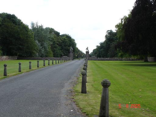 Gates and drive to Eaton Hall