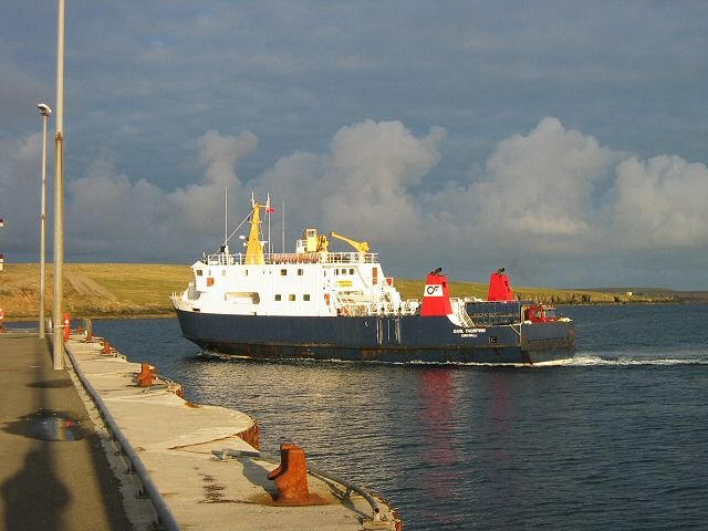 Ferry at Whale Geo pier, Westray