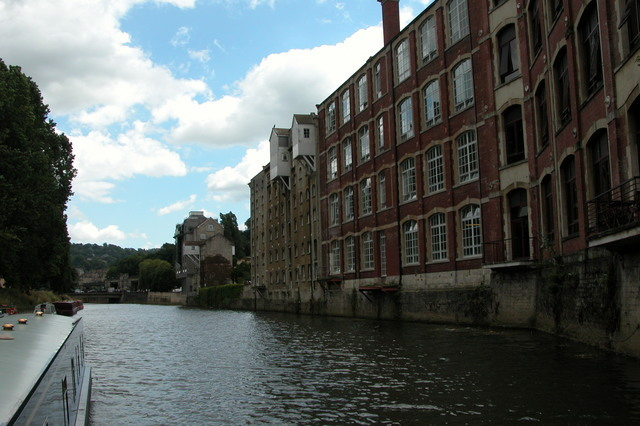 Warehouses by River Avon in the centre of Bath.