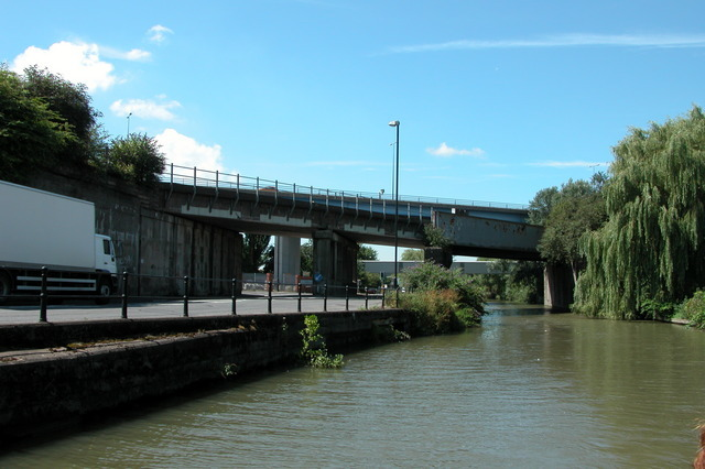 Road and rail bridges crossing the Bristol Harbour feeder  canal, entering Bristol.