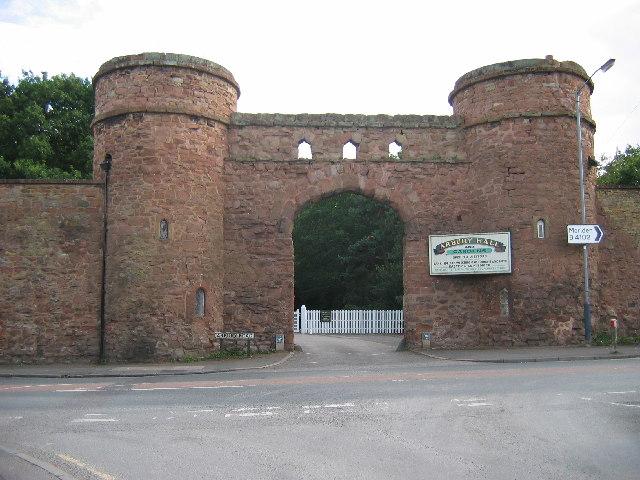 The Round Towers, entrance to Arbury Hall