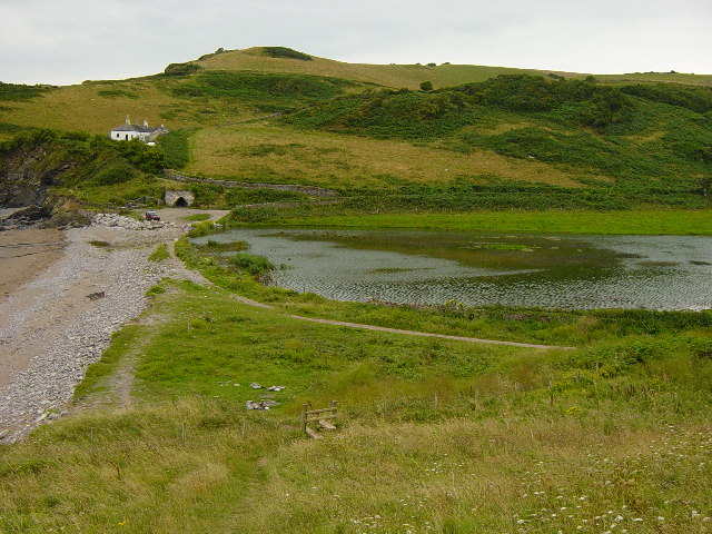 Man Sands, the Old coastguard cottages and the new wetlands.