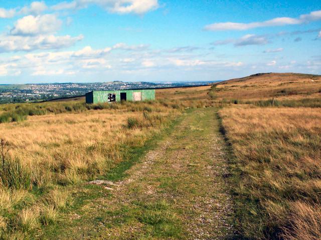 Track and tin hut on Hawksworth Moor