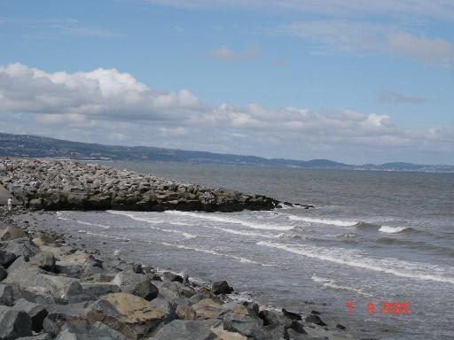 Sea wall and slipway at Kinmel Bay