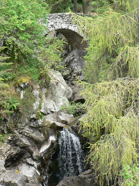 Lower bridge and waterfall at the Falls of Bruar