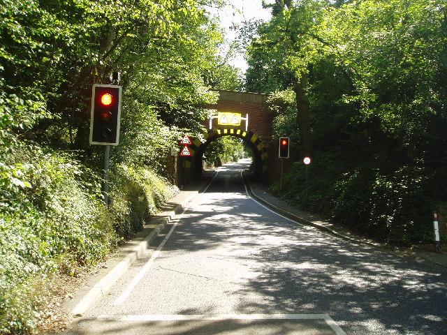 Railway bridge over the road near Edenbridge