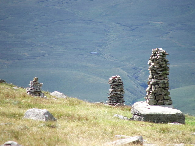Cairns on the side of Great Knoutberry Hill, the Dales.