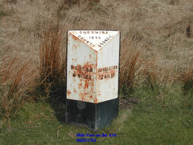 Mile Post on the A54