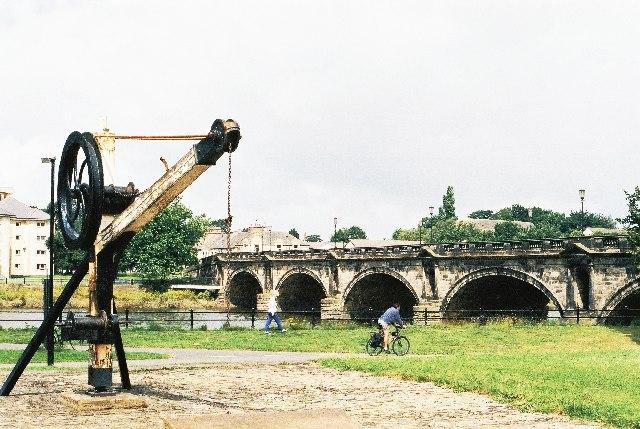Skerton Bridge, Lancaster with crane from former railway station