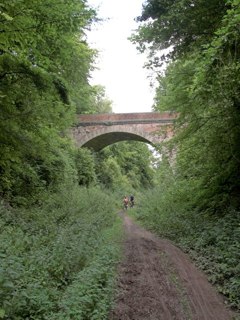 Meon Valley Trail showing the bridge at Warnford