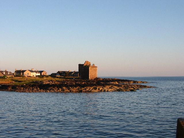 Portencross Castle at sunset