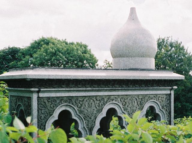 Blackburn Cemetery - Tomb in the Moorish style. Knotweed abundant.