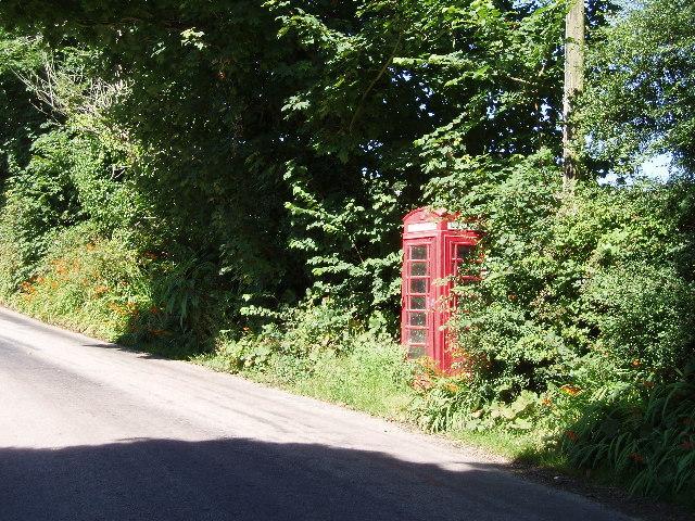 Telephone box on Lelant Downs