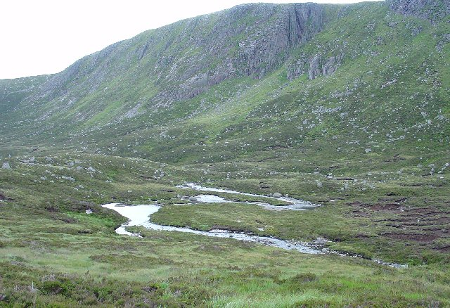 River Meanders on higher stretches of Allt an Dubh loch