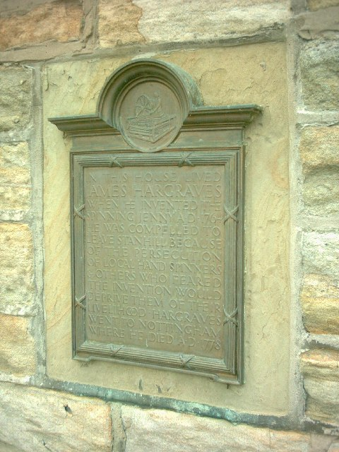 Stanhill. Hargreaves Plaque